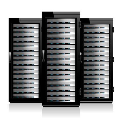 세 개의 서버 - 캐비닛에 서버 일러스트