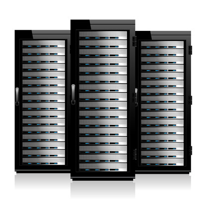 network server: Three Servers - Server in Cabinets