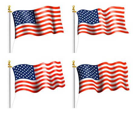 American Flags on Flag Poles Vector