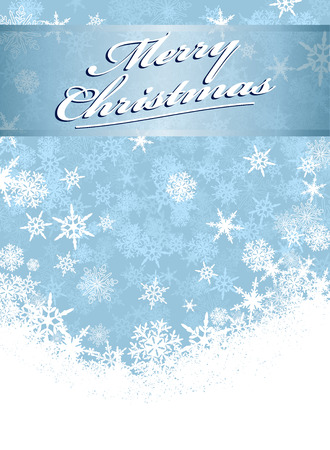 Merry Christmas Card Snowflakes Vector