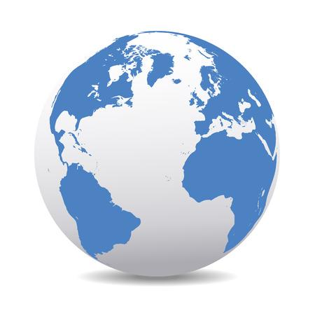zeměkoule: Evropa, Severní, Jižní Amerika, Afrika Global World