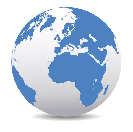 wereldbol: Europa en Afrika, Global Wereld Stock Illustratie