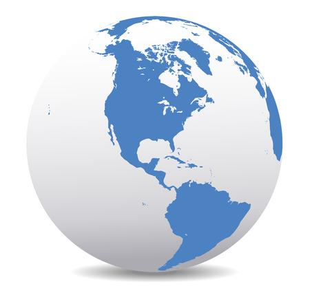 zeměkoule: Severní a Jižní Amerika globálním světě