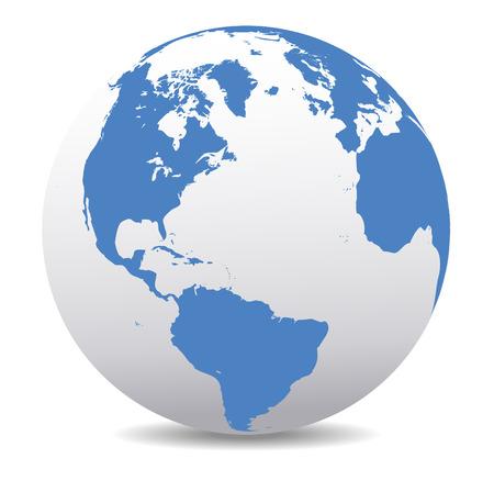 Noord- en Zuid-Amerika, Europa, Afrika Global Wereld