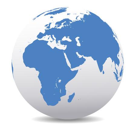 zeměkoule: Afrika, Blízký východ, Arábie a Indie Global World Ilustrace
