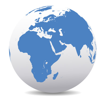 wereldbol: Afrika, het Midden-Oosten, Arabië en India Global Wereld Stock Illustratie