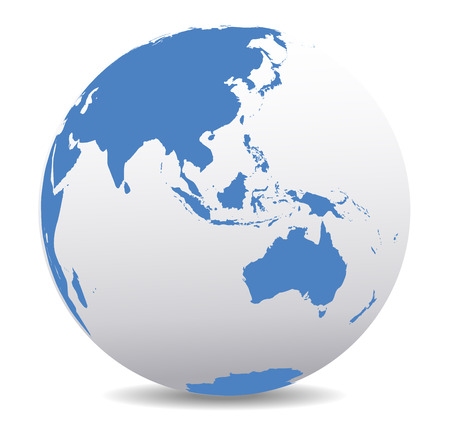 Asia and Australia, Global World 矢量图像