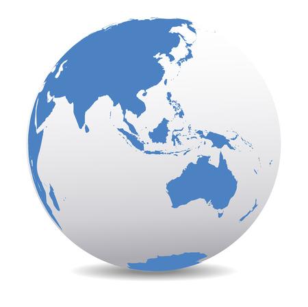cartina del mondo: Asia e Australia, mondo globale Vettoriali