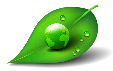 green leafs: Green Earth on Leaf Icon Symbol