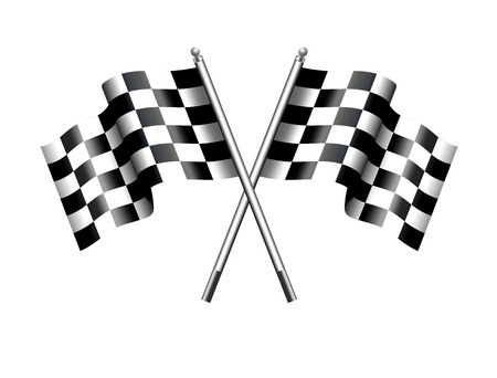 race cars: Chequered Checkered Flags Motor Racing Illustration