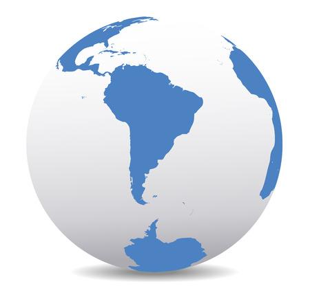 mappa: Sud America e Sud Polo Global World