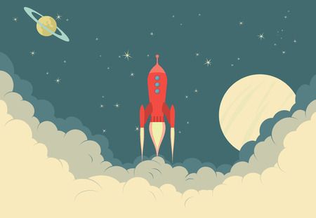 cartoon rocket: Retro Rocket Spaceship Illustration