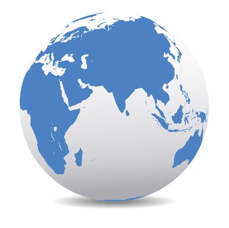 India, Afrika, China, de Indische Oceaan, Global Wereld Stock Illustratie