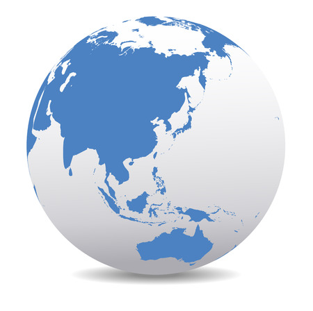 maps globes: China, Malaysia, Thailand, Indonesia, Global World