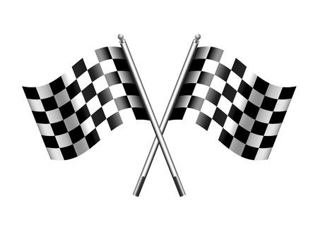 Twee zwart-witte gekruiste racen check