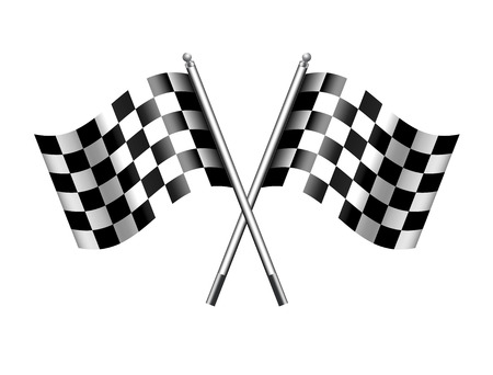 motorsport: Two black and white crossed racing check