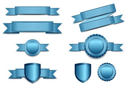 Blauw Banners met Schild en Rosette Stock Illustratie