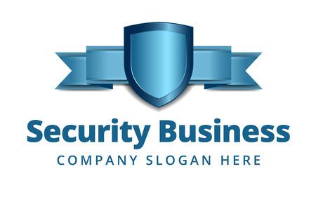 Security Shield icoon met Banner in Blauw Stock Illustratie