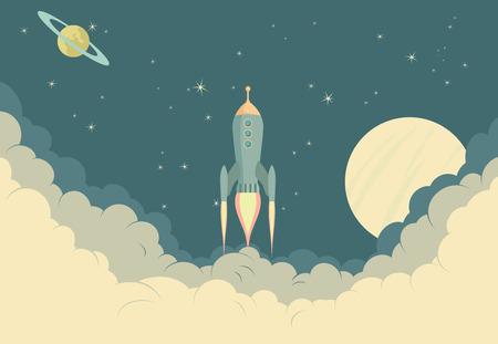 estrella caricatura: Ilustraci�n de la nave espacial despegar o aterrizar Vectores