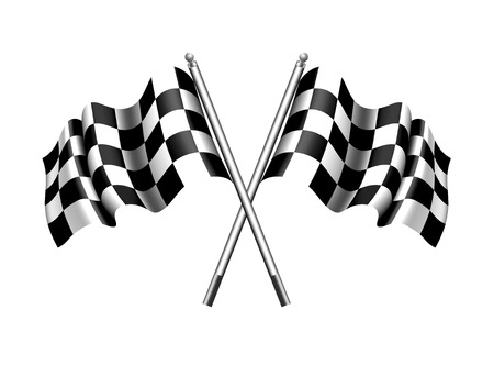 motor race: Geruite Chequered Flag Stock Illustratie