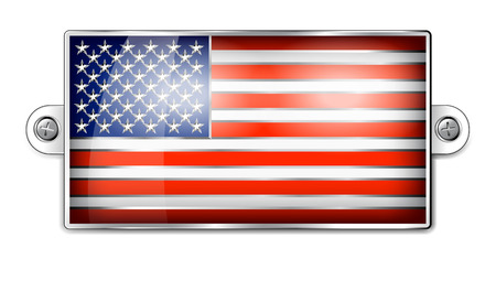 enamel: American Flag Embossed Enamel Badge Illustration