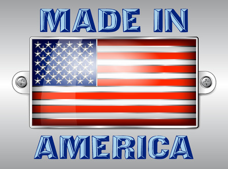 memorial day: MADE IN AMERICA - Embossed Enamel Badge American Flag Illustration