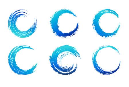blue swirl: Graphic Brush Swirls - Circular Brush Stroke