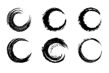 검은 색 원형 브러시 스트로크 스톡 콘텐츠 - 40044732