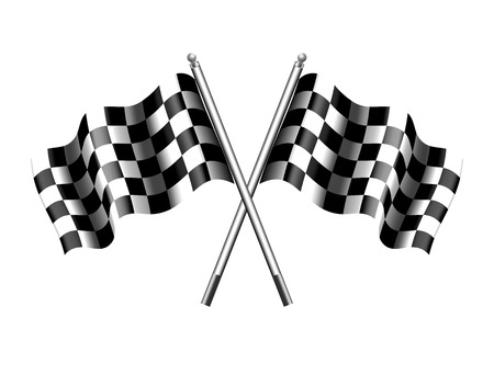 Rippled black and white crossed chequered flag Vectores