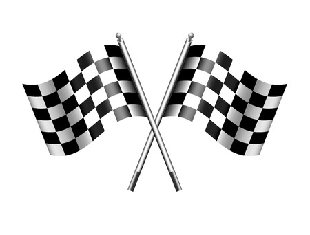 Checkered Chequered Flags Finish Flag Ilustrace