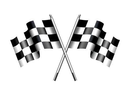 cuadros blanco y negro: Blanco y Negro a cuadros banderas cruzadas a cuadros Vectores