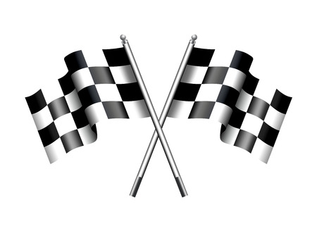 sports race: Checkered Black and White Crossed Chequered Flags Illustration