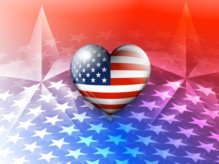 American Flag Heart and Stars America Background