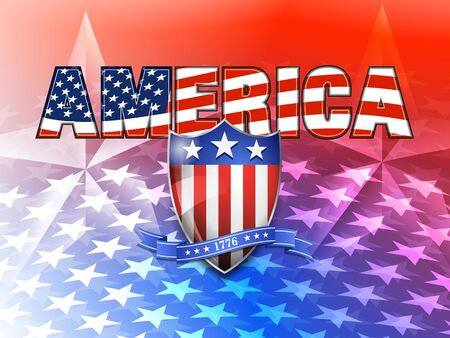 AMERICA American Flag and Shield Background Vector