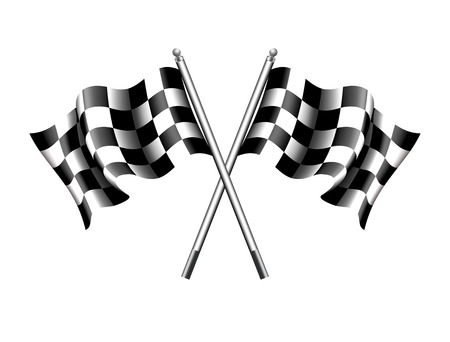 Rippled black and white crossed chequered flag 일러스트