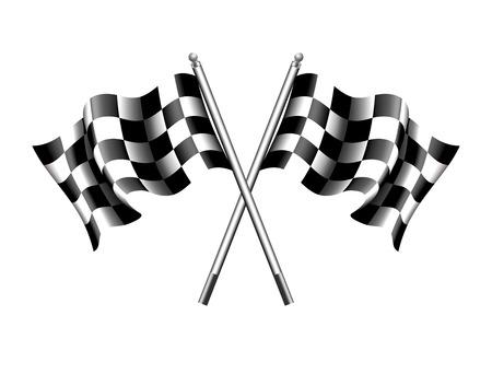 Golfde zwart-wit geblokte vlag gekruist
