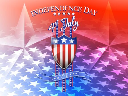 4th july: American Flag on Shield 4th July Celebration Background