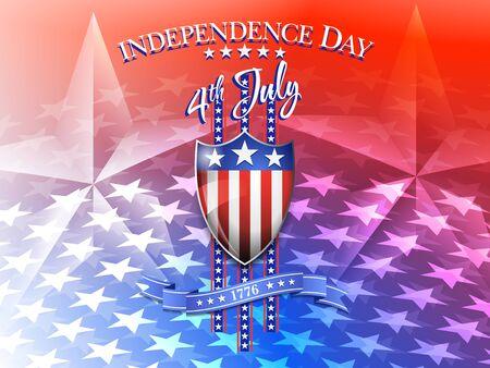 celebration background: American Flag on Shield 4th July Celebration Background