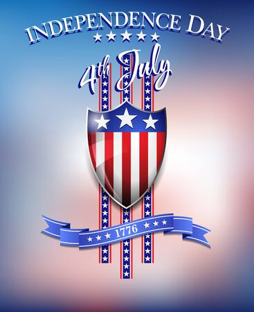 celebration background: American Flag on Shield 4th July Celebration Background