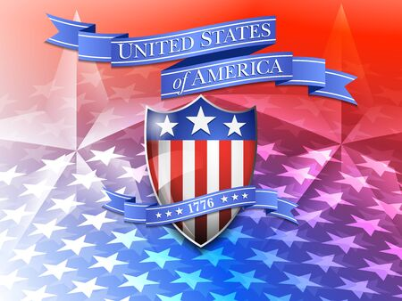 independence day america: AMERICA American Flag and Shield Background Illustration