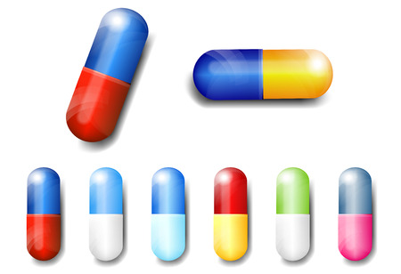 nhs: Capsules Pills with shadows -- Vector illustration Illustration