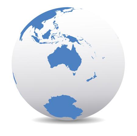 wereldbol: Australië en Nieuw-Zeeland, Zuidpool, Antarctica, Global Wereld