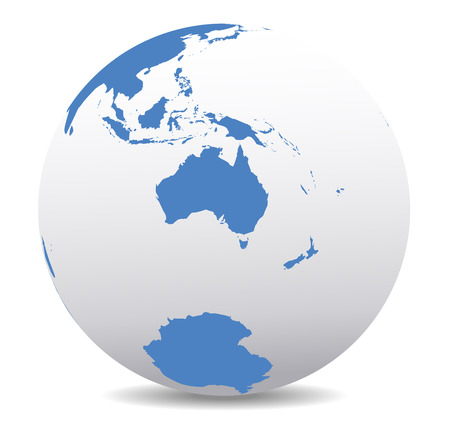 globo terraqueo: Australia y Nueva Zelanda, Polo Sur, la Ant�rtida, Mundo Global
