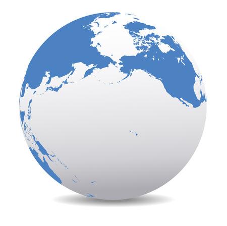 map of america: Pacific Rim North America, Canada, Siberia, Russia, Hawaii, Global World Illustration