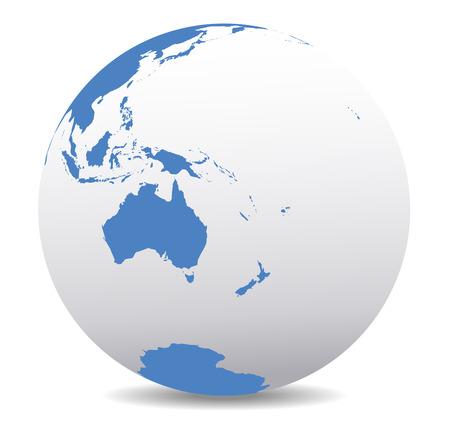 globo mundo: Australia y Nueva Zelanda, Mundo Global Vectores
