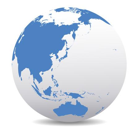 zeměkoule: Čína, Japonsko, Malajsie, Thajsko, Indonésie, Austrálie, Global World