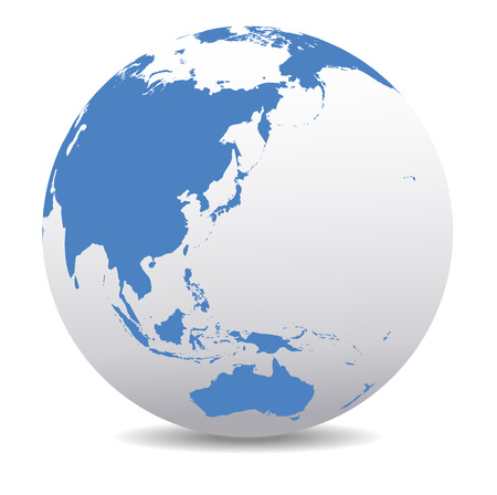 wereldbol: China, Japan, Maleisië, Thailand, Indonesië, Australië, Global Wereld