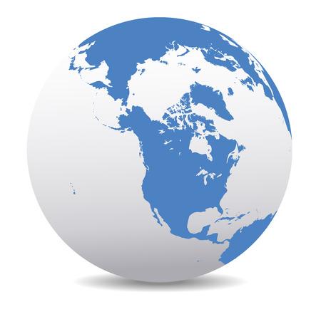 mapa: Canadá, América del Norte, Siberia y Japón Global Mundial Vectores