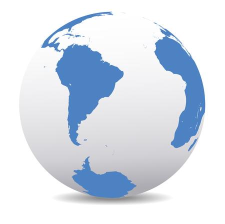 южный: Южная Америка, Южная Африка и поляк Глобальный мир Иллюстрация