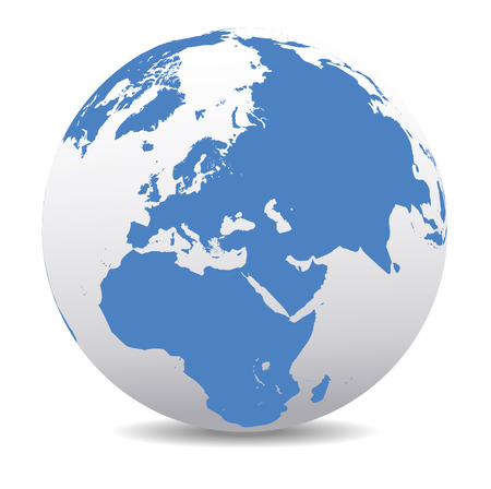 wereldbol: Midden-Oosten, Rusland, Europa en Afrika, Global Wereld